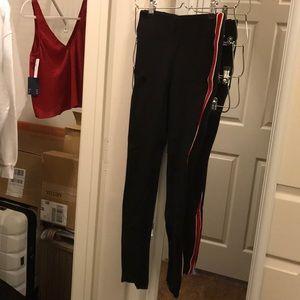 zara leggings with red stripes